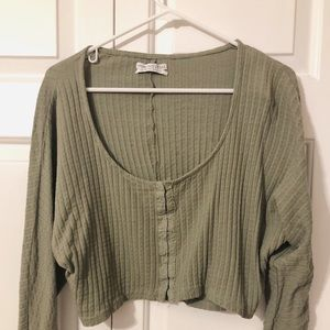 -Cropped Army Green Top-